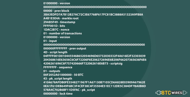 Broken down Genesis block data
